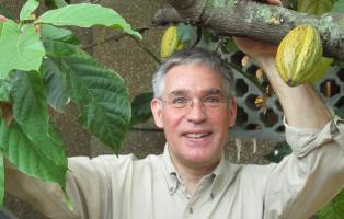 Projektleiter Michael Heiß mit Kakaopflanze