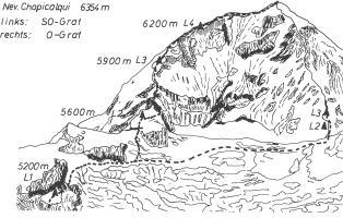 Besteigungsroute des Chopicalqui während der NaturFreunde-Anden-Expedition 1971