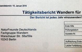 Tätigkeitsbericht 2015 Fachgruppe Wandern