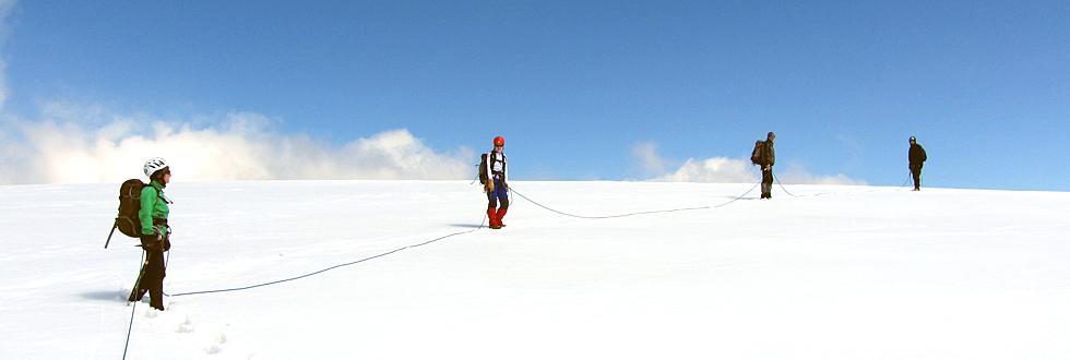NaturFreunde während einer Hochtour: Abstieg von der Weißenseespitze im Kaunertal.